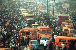 Overcrowding in Lagos, due to a massive population growth of 300000 in 1950, to over 12 million today. With no mass transport systems in place such as trains, this is the end result.