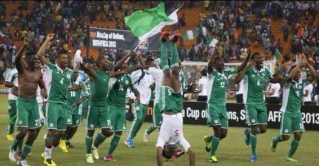 Nigeria celebrates after a World Cup match win