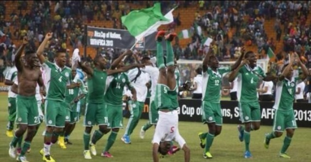 Nigeria celebrates after a World Cup match win