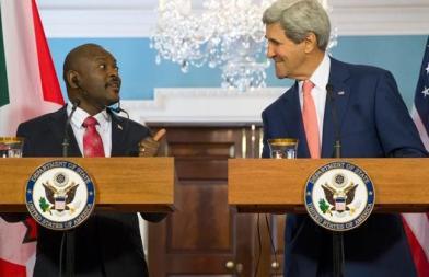 Secretary of State John Kerry and Burundi President Pierre Nkurunziza participate in a joint news conference