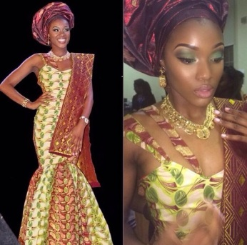 Queen Bisi's traditional wear, designed by Gerrie Berry @berry_haute. Mua for the night, @houseofbeautyuk.