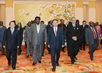 Communist Party of China (CPC) Central Committee Political Bureau, meets with chief delegates from 45 African countries attending the first China-Africa culture Ministers forum, June 2012